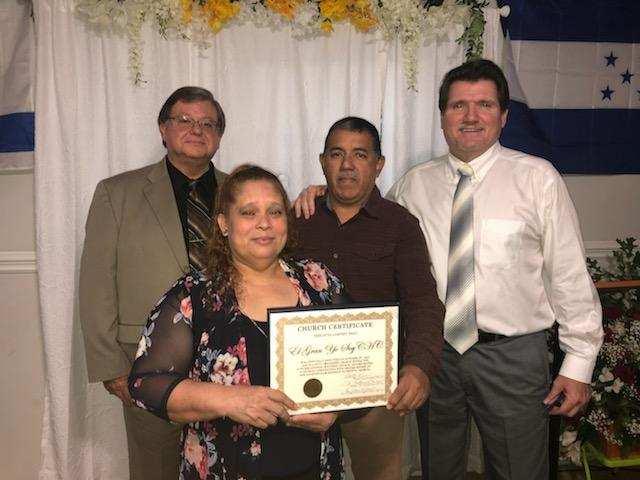 Left to Right Rev. George James Sis. Sandra Barahona Pastor Javier Barahona Superintendent James James